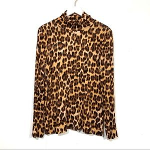 Jennifer Lopez Leopard Print Turtleneck Top
